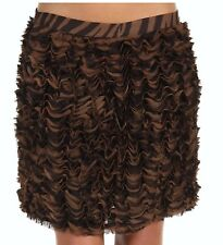 Michael Kors Tiered Ruffled Animal Print Georgette Skirt Chocolate 12 Nwt $130