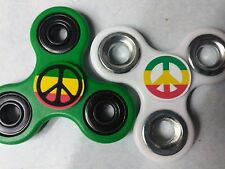2 Lot Peace Sign Colorful sticker Fidget Spinners Green & White In Stock 1 USA