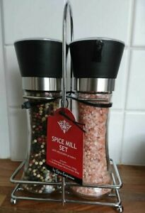 UK Salt Pepper Grinder Set Stainless Steel Glass Shaker Adjustable Mill Jocular