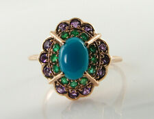 9CT 9K ROSE GOLD TURQUOISE COLOMBIAN EMERALD AMETHYST ART DECO INS CLUSTER RING