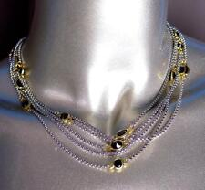 STUNNING Silver Box Chain Cables Black Onyx CZ Crystals Magnetic Necklace