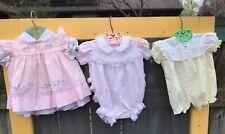 3 VTG Baby Togs Girls Rosebud Pink Yellow Ruffle Pinafore Dress & Jumpers EUC