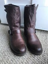 Frye sz 8.5 Dark Brown Leather Classic Veronica Slouch Shortie Harness Boots