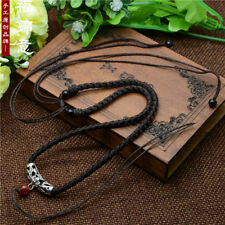 cord rope Necklaces For Pendants A252 Tibetan silver Brown Circle Braided string