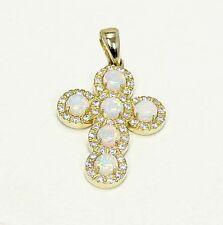 Anhänger Kreuz mit Zirkonia & Opal Steinen 585 Gelb Gold 14 K NEU PI-303