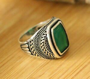 Natural Green Agate Men's Rings, 925 Sterling Silver Handmade Men's Rings