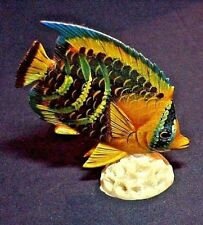 RESIN FISH & CORAL FIGURINE 3 7/8 INCHES TALL UNBRANDED
