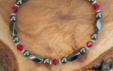 Magnetic Hematite Bracelet / Necklace with Swarovski Ruby
