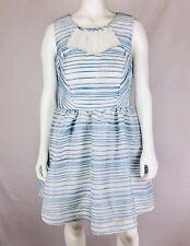 CITY STUDIO Jr Dress Size 11 Blue White Stripes Sleeveless Open Back Lace NWT