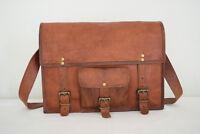 """Vintage Leather Messenger Bag 17"""" Laptop Satchel Crossbody Shoulder School Bag"""