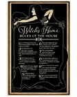 House Rules, Retro Black Witch's House Rules Vintage Art Decor Poster Unframed