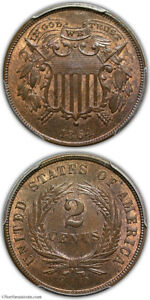 1864 Small Motto Two Cent Piece PCGS MS65 RB CAC