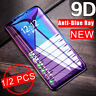 9D Full Cover Screen For iPhone 11 XR XS Max X 8 7+ Anti Blue Ray Tempered Glass