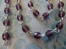 """4mm Purple Amethyst Bead Chain on Silver Rosary Chain - Glass Beads - Qty 18"""""""