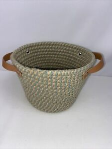 "Coiled Rope Fabric Basket With Handles Blue Cream 9""x6"""
