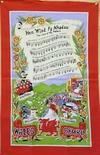 Welsh National Anthem (Land Of My Fathers) Cotton Tea Towel
