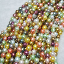 "AA+ 6-7mm Natural  Multi-Color Genuine Pearls Rice Loose Beads 14"" strand"