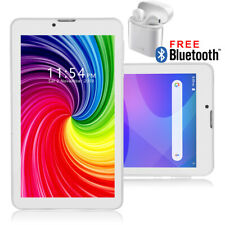 Attractive White 7-inch 4G LTE Android 9.0 Quad Core Tablet PC w/ EARBUDS BUNDLE