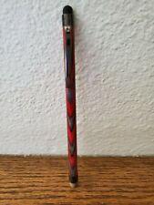 Handmade Birch Wood Stylus - Red/Grey Color-Gun Metal Hardware-Rubber/Mesh Tips