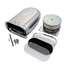 Hilborn Style Aluminum Polished Smooth Hood Air Scoop Kit 4 Barrel Carburetor