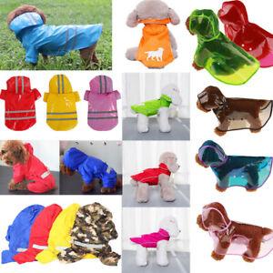 Puppy Dog Waterproof Hooded Raincoat Cat Rain Coat Jacket Pet Clothes Costume UK