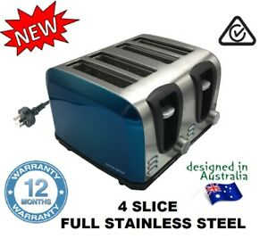 2 or 4 Slice Full STainless STeel Gloss BLUE Toaster. 2 Seperate Set of Controls