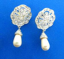 Roman Crystal Tear Drop Pearl Dangle Earrings Silver Tone 1x1.75