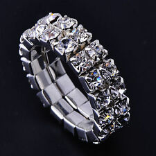 Womens Silver filled Clear Crystal Adjustable Stretch Tennis Band Rings Size 6