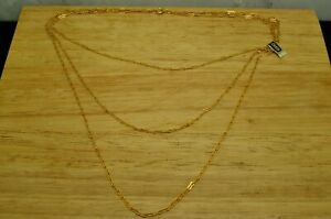 """14"""" YELLOW GOLD 3 GRADUATED UNIQUE OPEN BAR SHAPE CHAIN NECKLACE W/ TAG"""