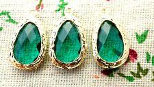 Drop jewel pendant green & gold charm jewellery supplies C1218
