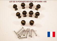 POIGNEE TIROIR BOUTON PAR 10  DECO MEUBLE METIER  COULEUR BRONZE + VIS. 12 mm