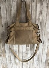 JUNIOR DRAKE Large Beige Tan Leather Satchel Strap Tote Purse Shoulder Bag USED*