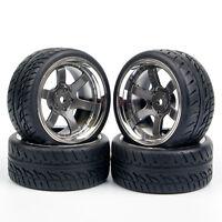 4Pcs 1/10 Run Flat Tires&Wheel 12mm Hex PP0038 For HSP HPI 1:10 RC Model Car