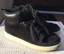 Gap Kids Boys Youth Black Leather High Top Sneakers Boots Tennis Shoes Size 2