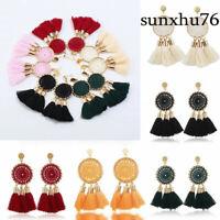 Women Fashion Bohemian Beige Earrings Jewelry Long Tassel Fringe Boho Stud