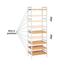 Durable Bamboo Shelf 5 Tier Home Furniture Entryway Adjustable Storage Rack