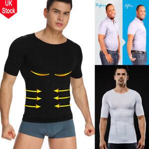 UK Men Slim Body Shaper Posture Corrector Vest Abdomen Compression T-Shirt Tops
