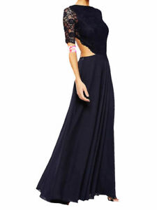 JOHN ZACK  NAVY MAXI DRESS HAS OPEN BACK SCALLOPED LACE TOP  FOR PROMS,PARTY