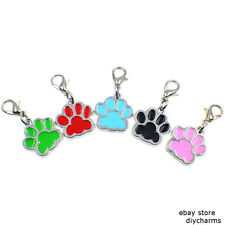 10p Dog Paw Print Clip Dangle Hang Charm With Lobster Clasp For Bracelet/Keyring