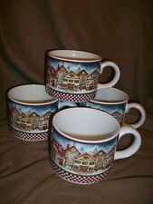 4 SAKURA ONEIDA DEBBIE MUMM SNOW ANGEL VILLAGE TEACUPS COFFEE MUGS