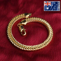 New 18K Gold Plated 6MM Double Curb Chain Solid Link Bracelet Mens & Womens Gift