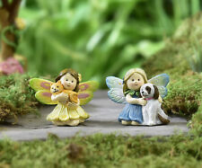Miniature Dollhouse Fairy Garden - Fairies With Pets - Set of 2 - Accessories