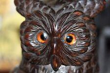 BLACK Forest Magico Stregoneria Gufo uccellino in legno scolpito SCATOLA BARATTOLO Tabacco