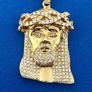 Stunning 10K Yellow Gold Diamond Jesus Face Head Statement Pendant Necklace