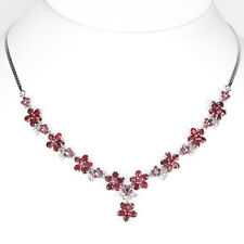 Sterling Silver 925 Genuine Natural Deep Pink Ruby Cluster Necklace 171/2 Inch