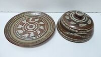 PHYLL DUNN AUSTRALIAN POTTERY DOMED  LID CHEESE PLATE STUDIO ART GALLERY PIECE