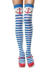 SAILOR GIRL STRIPED THIGH HIGH STOCKINGS NAVY FANCY DRESS ACCESSORIES