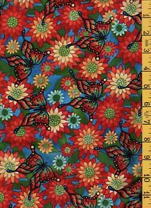3 Yards Cotton Quilt Fabric In the Beginning Butterfly Queen Red Orange