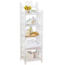 Scrollwork Design 5 Tier White Storage Shelf to Instantly Add Storage and Style