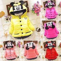 Babys Girls Kids Minnie Mickey Mouse Hoodie Jacket Coat Winter Warm Outerwear